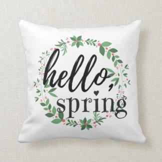 Almohada de tiro de la primavera - hola, primavera