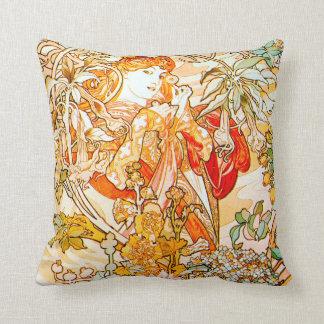 Almohada de tiro de Nouveau Alfonso Mucha del arte