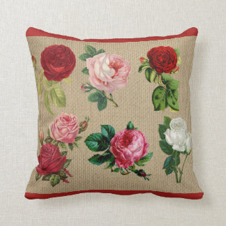 Almohada de tiro del algodón de los rosas de la
