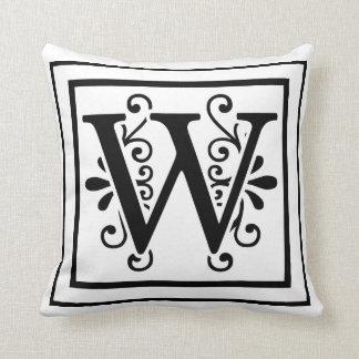 Almohada de tiro del monograma de la letra W