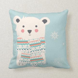 Almohada de tiro del navidad del oso polar del