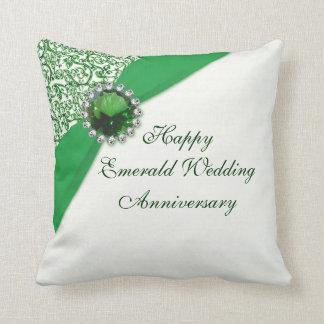 Almohada de tiro esmeralda del aniversario de boda