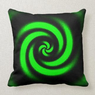 Almohada de tiro espiral negra y verde del