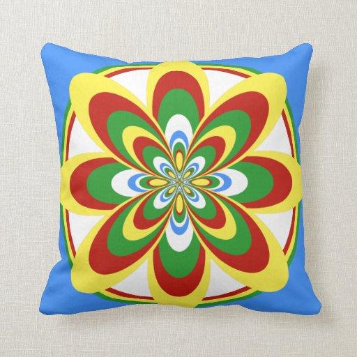 Almohada de tiro, flor abstracta 4, verde amarillo