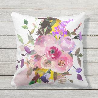 Almohada de tiro floral al aire libre, dorso gris