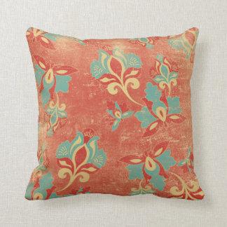 Almohada de tiro floral anaranjada de la turquesa