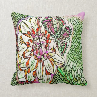 almohada de tiro floral de la mariposa del vitral