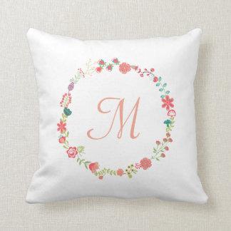 Almohada de tiro floral del monograma de la