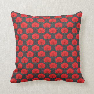 Almohada de tiro floral roja de Nouveau del arte