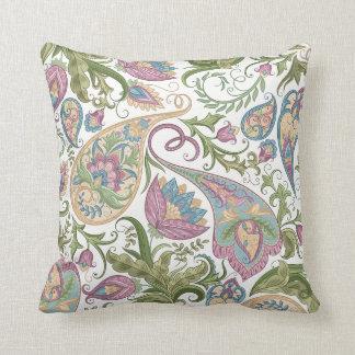 Almohada de tiro floral verde y púrpura de Paisley