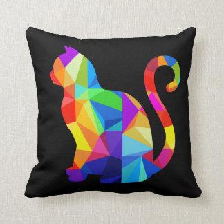 Almohada de tiro geométrica colorida del gato