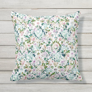 Almohada de tiro gráfica floral romántica y
