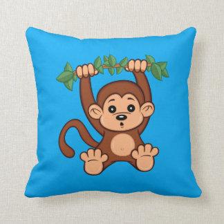 Almohada de tiro linda del mono del dibujo animado