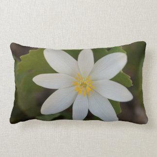 Almohada de tiro lumbar de la flor blanca