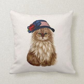 Almohada de tiro patriótica del gato
