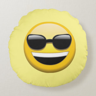 Almohada de tiro redonda de Emoji de las gafas de Cojín Redondo