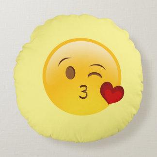 Almohada de tiro redonda de Emoji del beso del Cojín Redondo