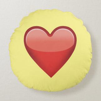 Almohada de tiro redonda de Emoji del corazón rojo Cojín Redondo