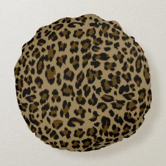 Almohada de tiro redonda del estampado leopardo