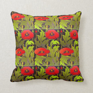 Almohada de tiro roja de Nouveau del arte de la