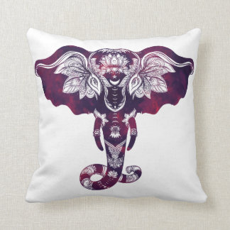 Almohada de tiro tribal roja púrpura del elefante