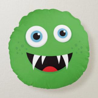 Almohada de tiro verde del monstruo para los niños cojín redondo