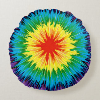 Almohada del arco iris del teñido anudado cojín redondo