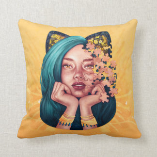 Almohada del chica del gato del rompecabezas
