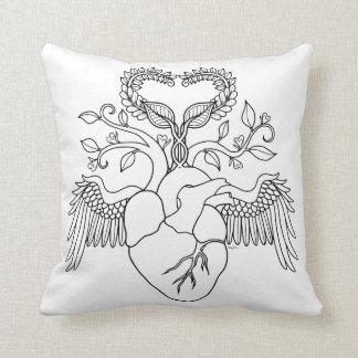 Almohada del colorante del ángel del corazón del