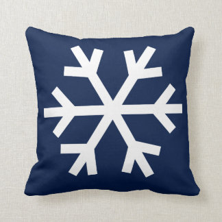 Almohada del copo de nieve - azul marino