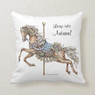 Almohada del dibujo del caballo del carrusel del