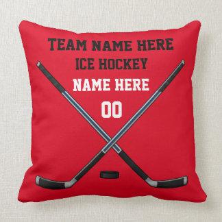 Almohada del hockey sobre hielo con SU TEXTO y
