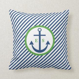Cojín Decorativo Almohada del monograma del ancla de los azules