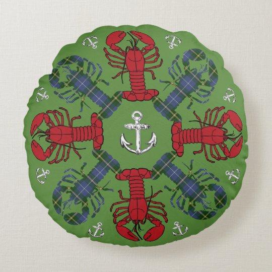 Almohada del navidad del tartán del ancla del copo cojín redondo