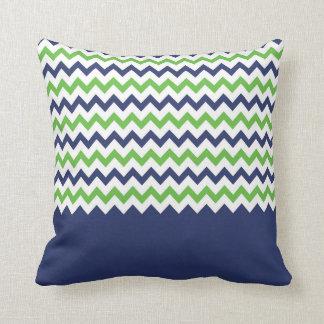 Almohada del zigzag de la verde lima y de los