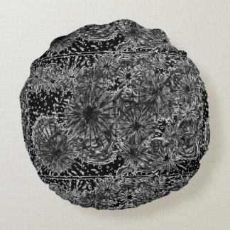 almohada diseñada blanca hermosa del negro n cojín redondo