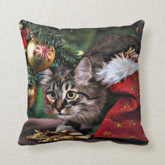 Almohada divertida del gato del gatito del navidad
