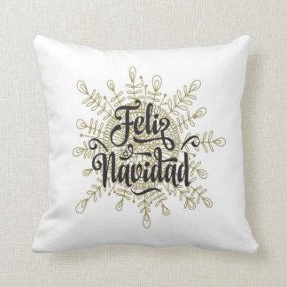 Almohada española del navidad del copo de nieve de