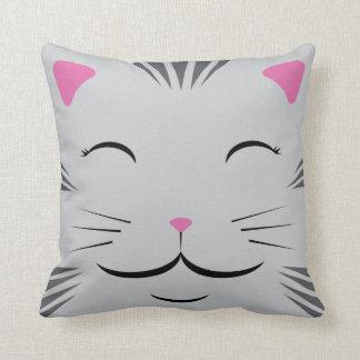 Almohada feliz del gato - gris rayado