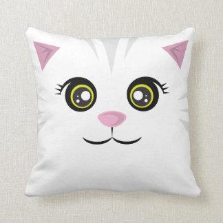 Almohada feliz del gato - rayas grises
