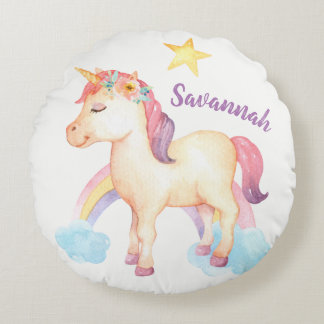 Almohada feliz personalizada del unicornio con las