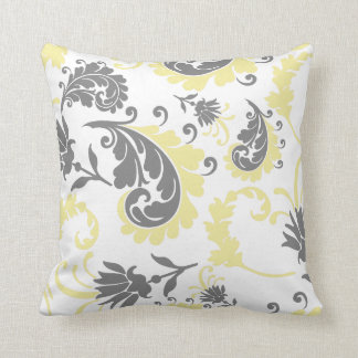 Almohada floral amarilla y gris 16x16 del acento