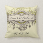 Almohada floral del amor del boda del vintage verd