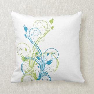 Almohada floral verde, azul, blanca enorme de las