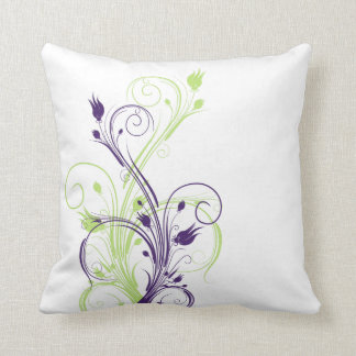 Almohada floral verde, púrpura, blanca enorme de l