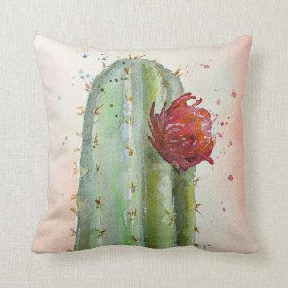 Almohada floreciente del cactus de la acuarela