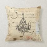 Almohada francesa de las postales de la lámpara