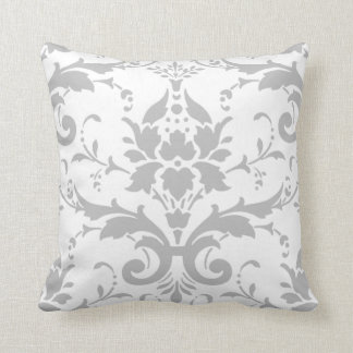 Almohada gris del diseño del damasco