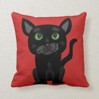 Almohada linda del gato negro