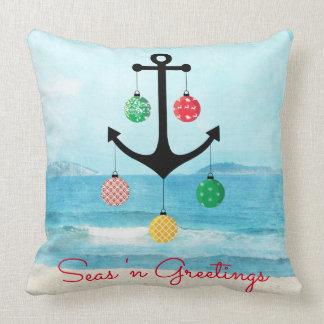 Almohada náutica del navidad con el ancla